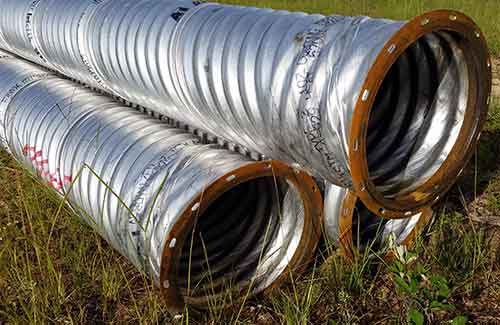 "Corrugated Aluminized 18"" Round Pipe with Flange Ends - Ag Use"