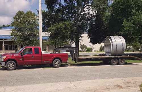 Utility Pole Casing delivered to site